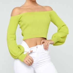 Lime Green Cropped Sweater